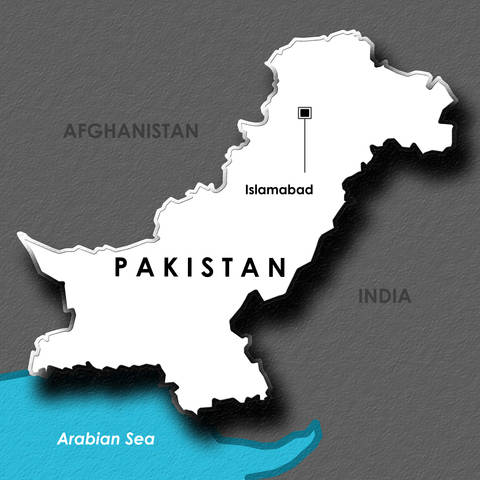 Map of Pakistan showing Islamabad and Arabean Sea