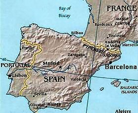 Map Of North Spain Coast.Barcelona Spain