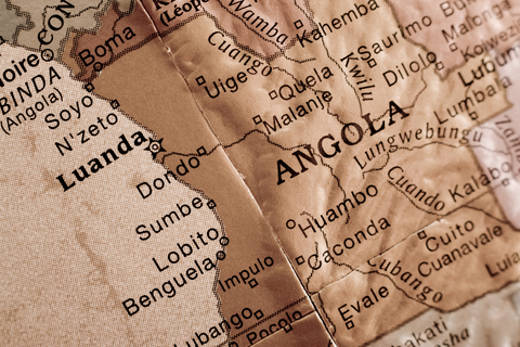 Map of Angola and capital city of Luanda