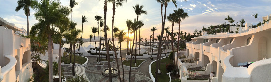 a mexican resort complex at sunset