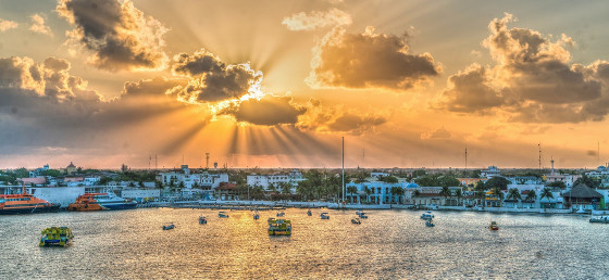 sunset over a mexican harbor