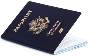 New American passport with epassport symbol and partcially open front cover.