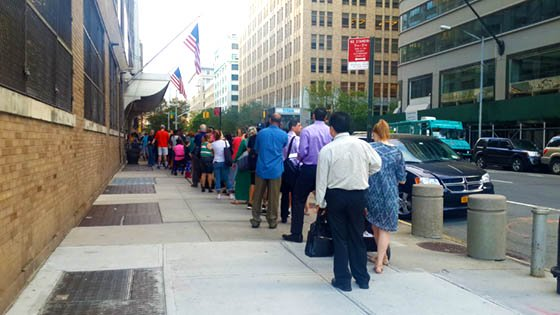 Long line at the New York Passport Agency on 276 Hudson Street, New York City