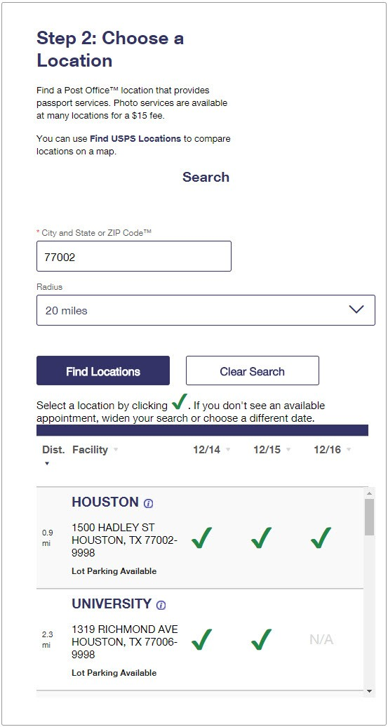 USPS Online Appointment System Step 2 - Choose a Location: Houston TX