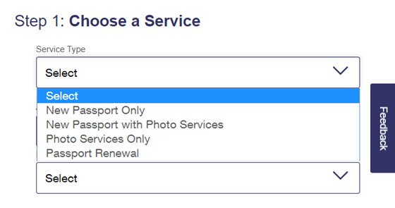 USPS Online Appointment System Step 1 - Passport Services Offered