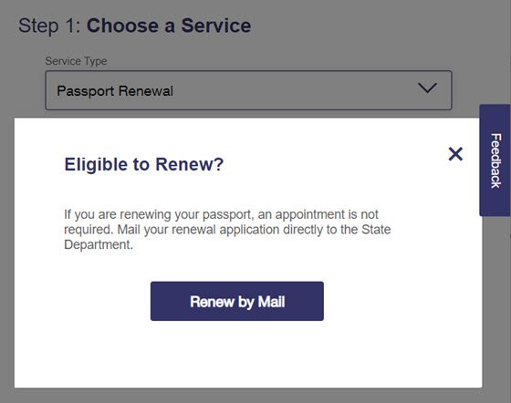 USPS Online Appointment System Step 1 - Passport Renewal