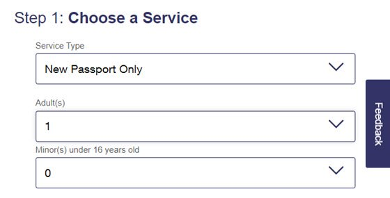 USPS Online Appointment System Step 1 - Number of Applicants