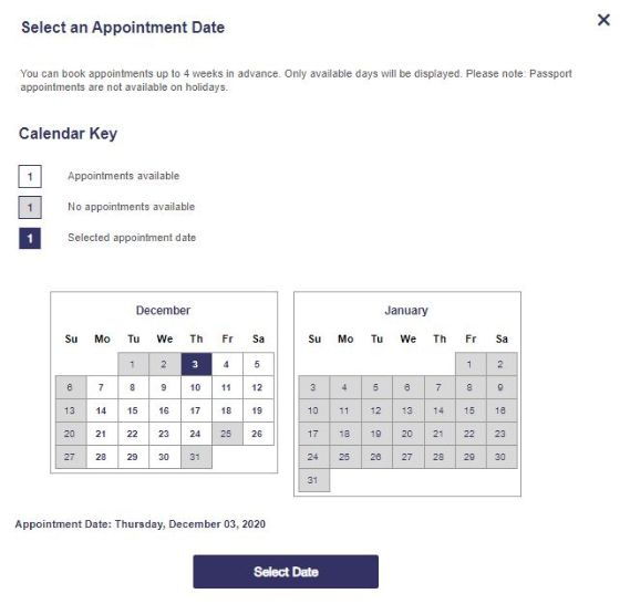 USPS Online Appointment System Step 2 - Select Date