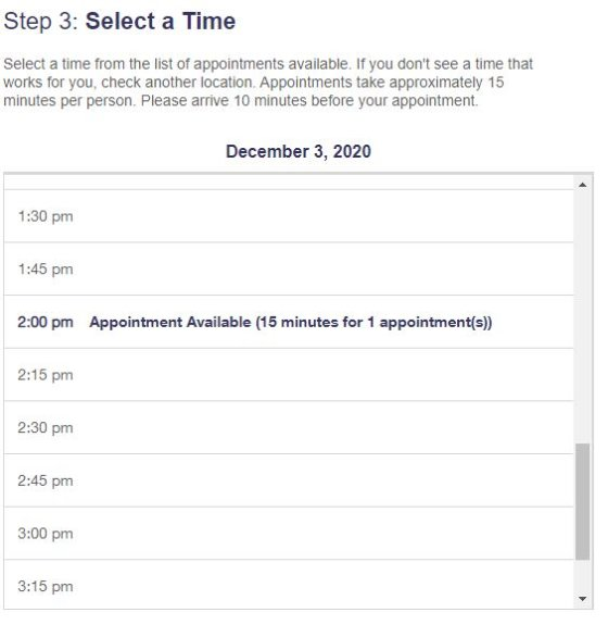 USPS Online Appointment System Step 3 - Select a Time