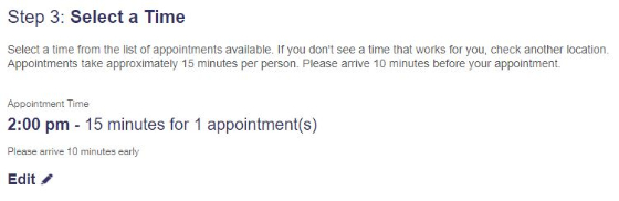 USPS Online Appointment System Step 3 - List of Selected Appointment Times