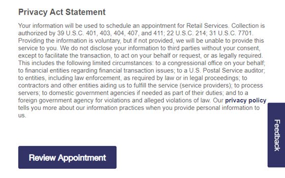 USPS Online Appointment System Step 4 - Privacy Act Statement