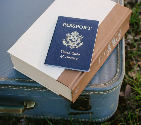 passport laying on a book and suitcase in the grass