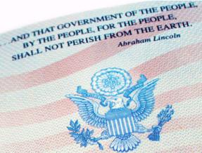 Quote by Abraham Lincoln from Gettysburg Address on inside page of United States Passport.