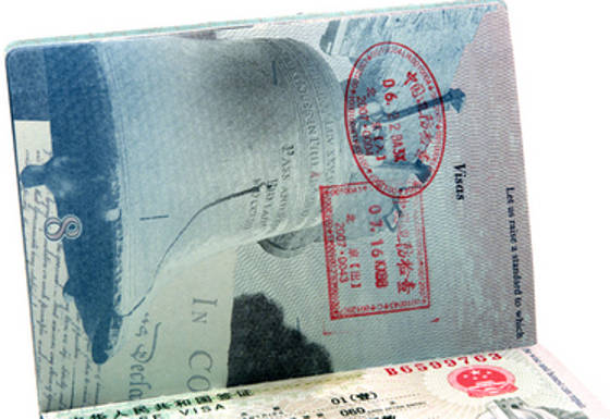 Entry Stamps on Visa Pages in U.S. Passport