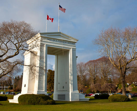 Peace arch at the Canada-US border.