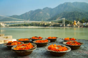 Puja flowers at the bank of Ganges river in Rishikesh India