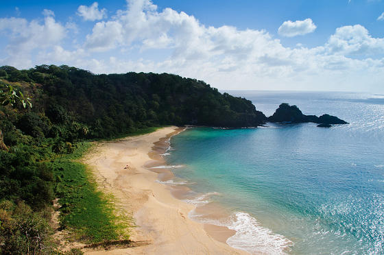 Beautiful Sancho beach on the paradisiacal Fernando de Noronha.
