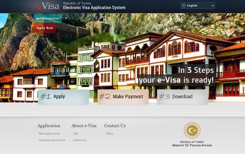 a screenshot of Turkey's eVisa application webpage