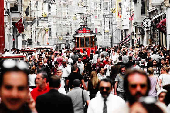 Large crowd in the streets of Istambul, Turkey
