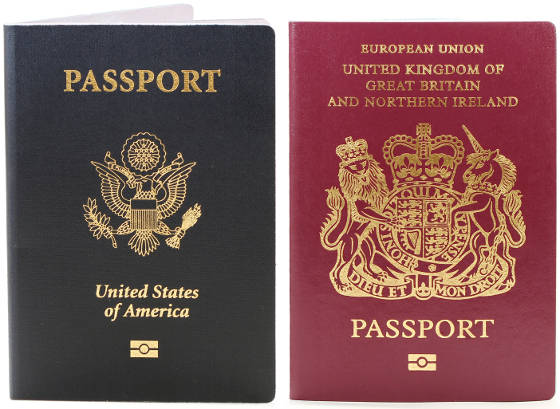 United Kingdom and United States passports