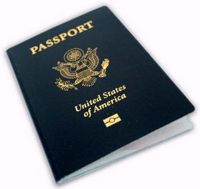 Front cover of United States passport with epassport symbol.