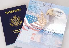 United States Passport book cover and inside data page.