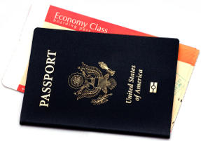 US Passport Book and Economy Airline Ticket