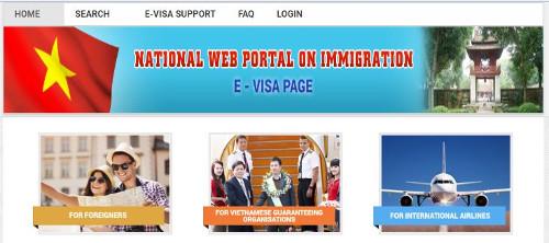 a screenshot of Vietnam's National Web Portal on Immigration E-Visa Page