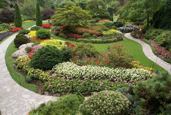 two paths through the Butchart Gardens in Vancouver, British Columbia
