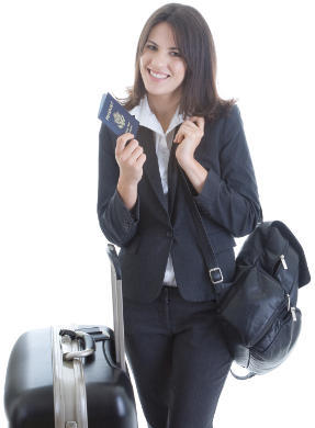 Young woman with United States passport and bags ready for travel abroad.