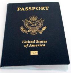 United States Passport book with epassport symbol