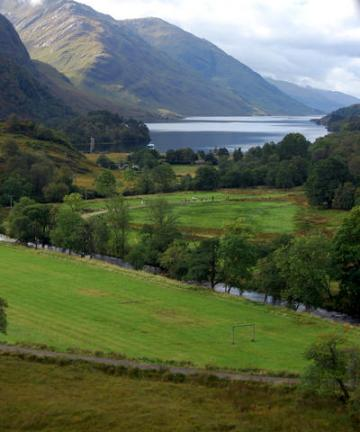 View along Jacobite steam train from Fort William to Mallaig