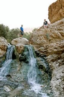 Nachal Bokek Waterfall near the Dead Sea in Israel
