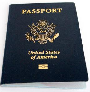 United States Passport book with epassport symbol